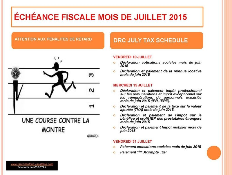 CALENDRIER FISCAL MOIS DE JUILLET /JULY TAX SCHEDULE