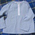 Chemise taille 4 ans coton rayé patte blanche