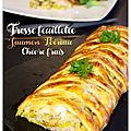Tresse farcie saumon, <b>poireau</b> & chèvre frais