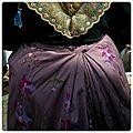 Dos jupe taffetas rose brodé