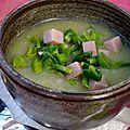 Soupe de poireaux au riz complet et au jambon