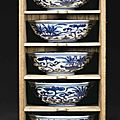 A set of five blue and white bowls, Jiajing six-character marks in underglaze blue and of the period (1522-1566)