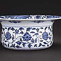 A superb and very rare Ming-style blue and white <b>basin</b>, Qianlong six-character sealmark and of the period (1736-1795)