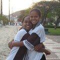 Fran et Erikina, entrainement a la plage