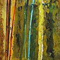 Forêt #14, 2011, acrylique, collage et coulures sur papier, 42 x 30 cm