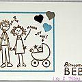 Un combo ... une carte de naissance rigolote comme un dessin d'enfant !!