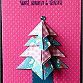 Du rose ... du vichy ... une petite touche japonisante ... un sapin en origami ... une carte de voeux féminine !!