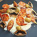 Salade de riz aux gambas, champignons et figue à la plancha