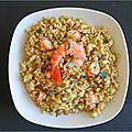 Salade de germes de ble aux crevettes et concombre