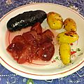 <b>Boudins</b> grillés aux 2 pommes et aux prunes