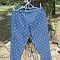 pantalon facon sarouel bleu pois blanc