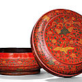 A rare largeqiangjinandtianqi'<b>phoenix</b> and crane' lacquer box and cover, Jiajing six-character mark and of the period