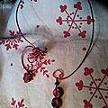 Collier fimo et fil alu, noir et rouge