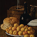 <b>Luis</b> <b>Meléndez</b>, Still life with a plate of apricots, cherries, bread, a wine cooler and receptacles