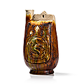 <b>Sancai</b> <b>Glazed</b> <b>Pottery</b> Wine Flask with Dragon Décor, China, Liao Dynasty (907-1125)