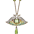 An art nouveau peridot, diamond, enamel and glass pendant necklace, by rené lalique