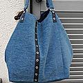 Grand sac cabas, <b>velours</b> bleu, doublé, sac shopping ou sac de piscine, sac de sport..