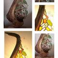 Lampe verre de mer & bois flotté