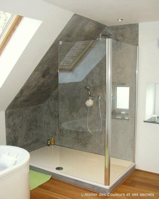 Enduit Style Beton Lisse Dans Une Salle De Bains  LAtelier Des
