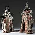 A Pair of Painted Grey Pottery Figures of <b>Earth</b> Spirits, Tang Dynasty (618-906)