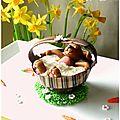 Mousse chocolat blanc/noix de coco dans une coque au chocolat noir