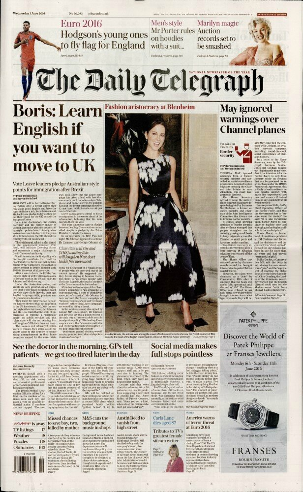 Daily telegraph (Gb) 2016