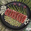 <b>Magret</b> de canard grillé, févettes et pointes d'asperges vertes
