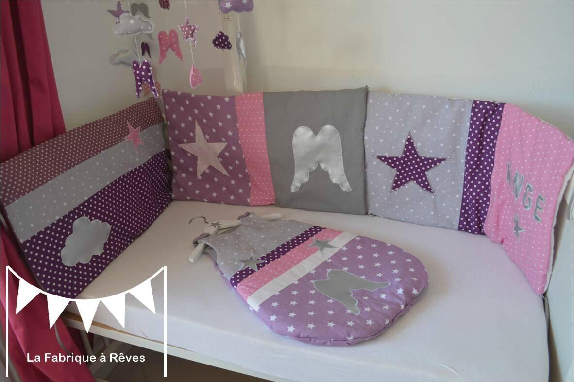turbulette gigoteuse douillette tour de lit b b naissance th me ange toiles parme mauve violet. Black Bedroom Furniture Sets. Home Design Ideas