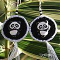 Boucles d'oreilles 'pandas'