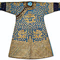 A rare Imperial gold and silver-embroidered blue-ground Twelve Symbol 'Dragon' <b>robe</b>, longpao, Jiaqing period (1796-1820)