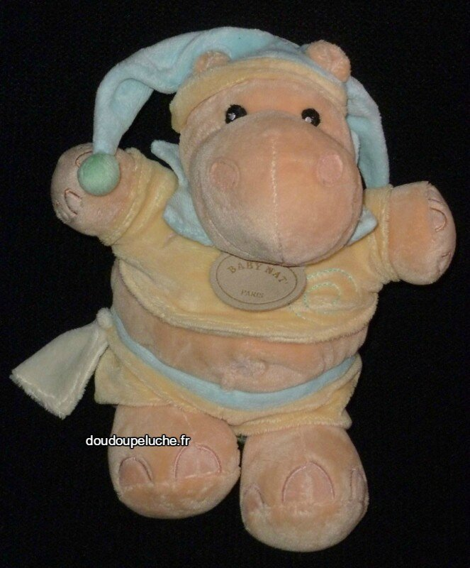 Doudou peluche hippopotame Baby nat bleu jaune beige