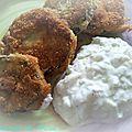 Aubergines panées et sauce fraiche au concombre de ma maman