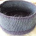 Pochon en fil mohair et soie, crochet 3,5