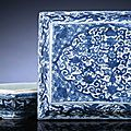 A fine and rare late Ming blue and white rectangular pierced rectangular covered box