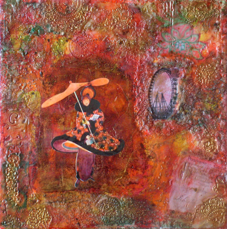 Mixed media beeswax collage