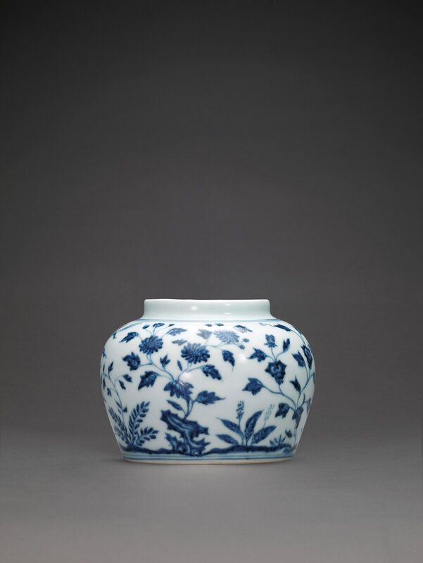 An extremely rare early Ming blue and white jar,guan, Yongle period (1403-1425)