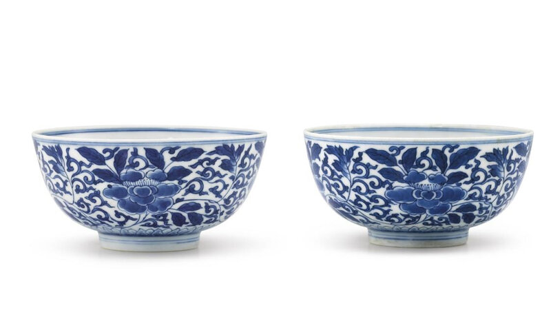 A pair of blue and white 'Peony' bowls, marks and period of Kangxi (1662-1722)