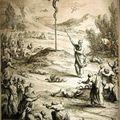 Gravure d'illustration - Le serpent d'airain - XVIII° s.