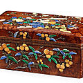 An exceptional hardstone-inlaid birchwood box and cover, <b>Late</b> <b>Ming</b> <b>dynasty</b>