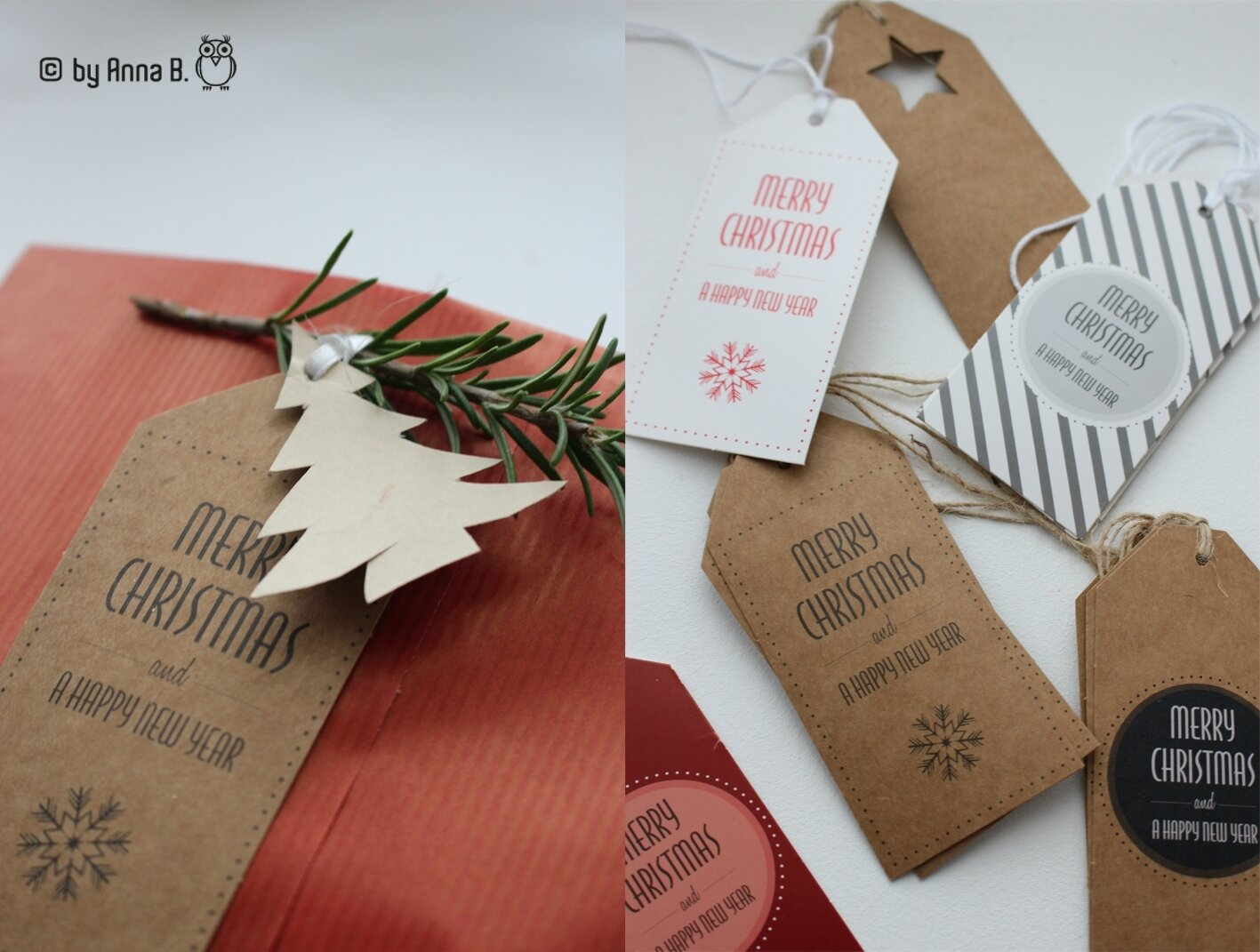 Paquets et étiquettes en fête