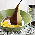 Poire sauce au chocolat, poivre de voatisperifery, timut et zeste de yuzu, {recette}
