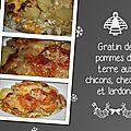 Gratin de pommes de terre aux chicons, cheddar et lardons