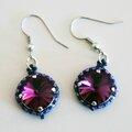 Boucles d'oreille violettes et roses