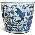 An extremely rare large blue and white '<b>carp</b>' <b>fishbowl</b> , Wanli mark and period (1573-1619)