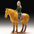 A <b>Green</b> <b>and</b> <b>Yellow</b>-<b>Glazed</b> Pottery Figure of an Equestrian, Tang Dynasty (618-906)