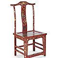 Suite de six chaises laquées rouge <b>cinabre</b>. 3ème tiers de l'époque Qing