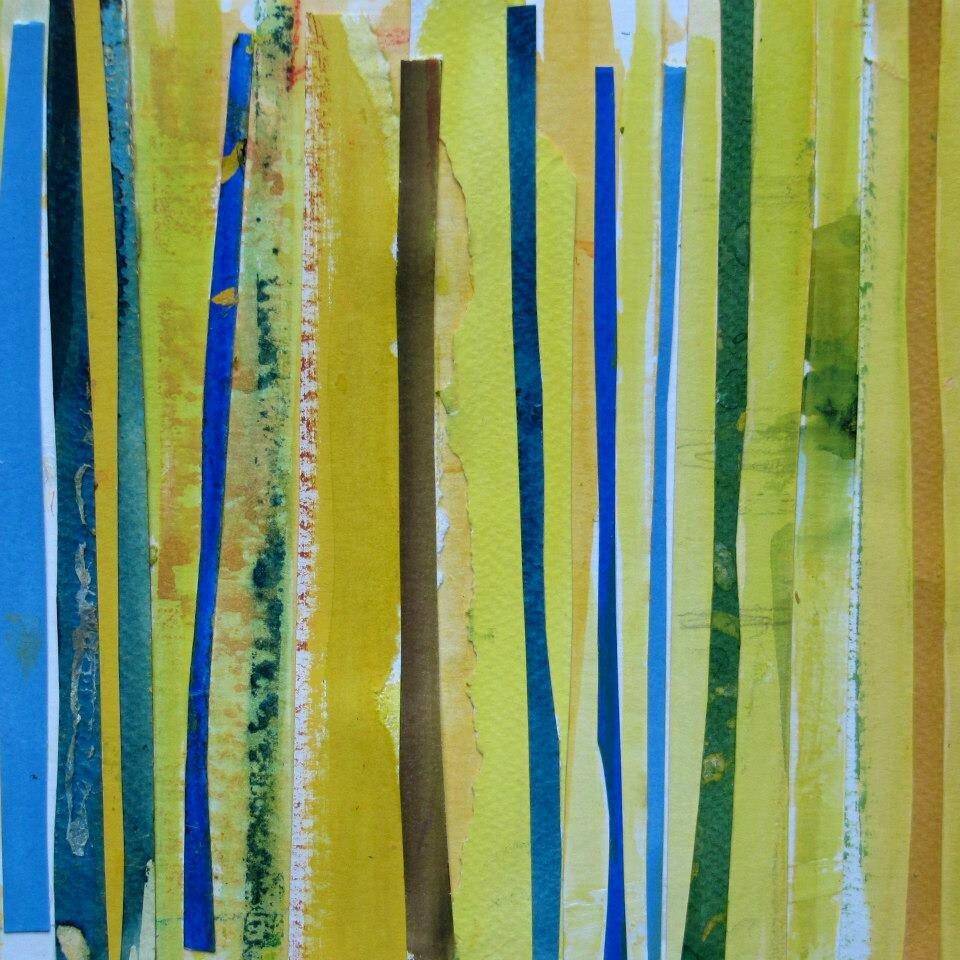 Forêt #10, 2011, acrylique, collage et coulures sur papier, 32 x 24 cm