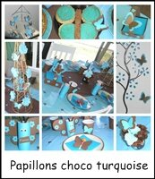 Anniversaire papillons choco/turquoise