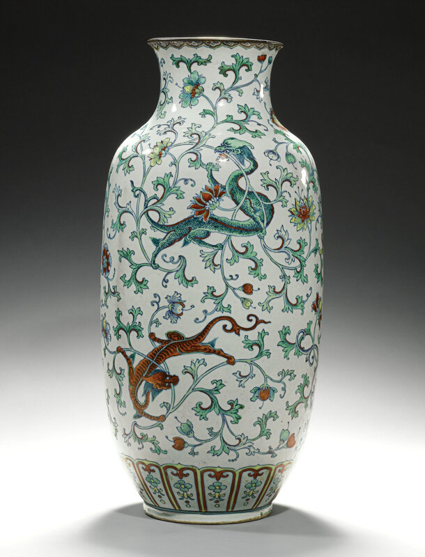 A 'doucai' 'Chilong' ovoid vase, Qing dynasty, Kangxi period (1662-1722)