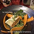 Saumon confit à l'huile d'olive <b>basse</b> <b>température</b>